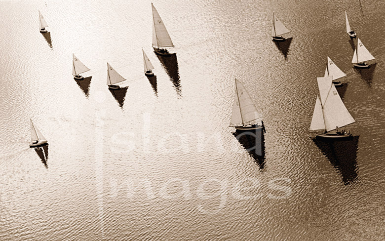 Island Yacht Photography in Sepia